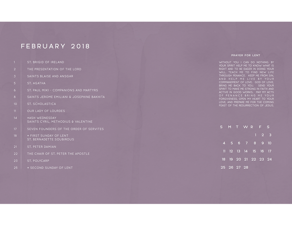 February 2018 Free Liturgical Calendar Desktop Background Frameable Faith