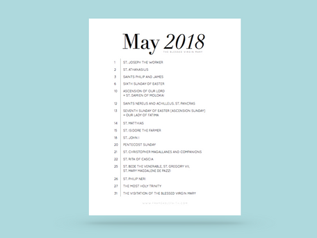 Free Liturgical Calendars | May 2018