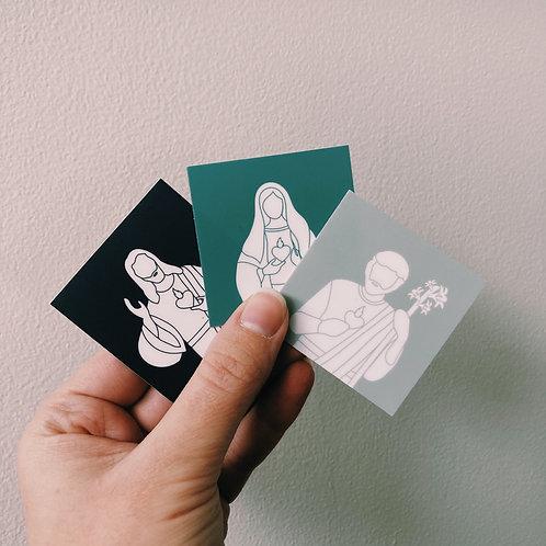 Three Hearts Color Block Square Sticker Set