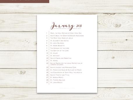 Free Liturgical Calendars | January 2018