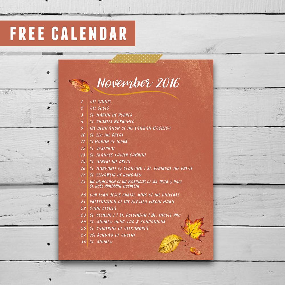 Catholic Box Free Liturgical Calendar