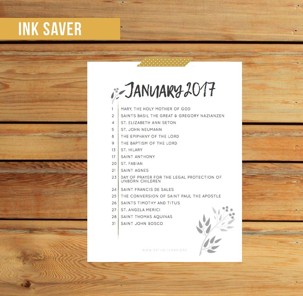 Ink Saver Calendar | Catholic Box