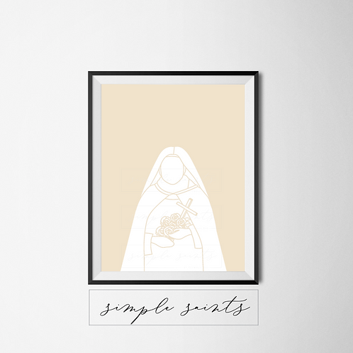 St. Therese of Lisieux Color Block Print