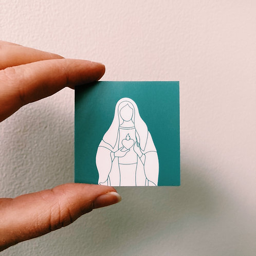 Immaculate Heart of Mary Color Block Square Sticker