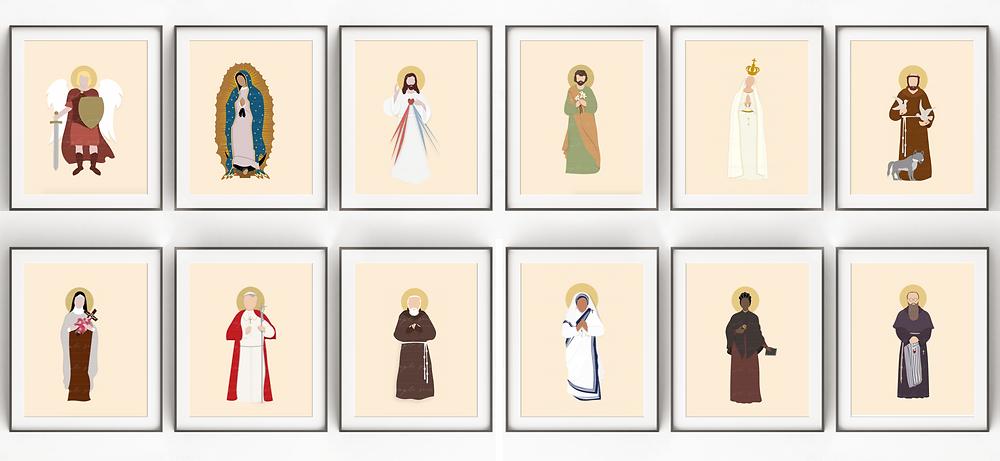 Simple Saints by Catholic Box, Simple Saint Prints