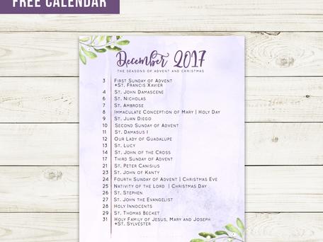 Free Liturgical Calendar   December 2017