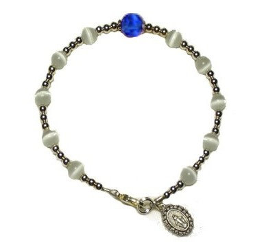 White Cat's Eye/ Sapphire Swarovski Crystal Decade Bracelet