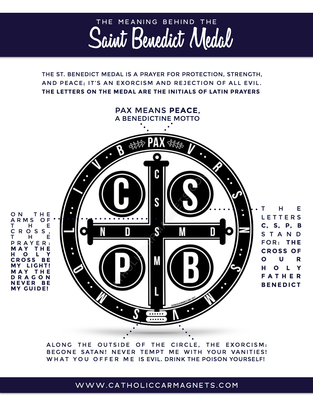 The meaning behind the St. Benedict Medal Catholic Car Magnets