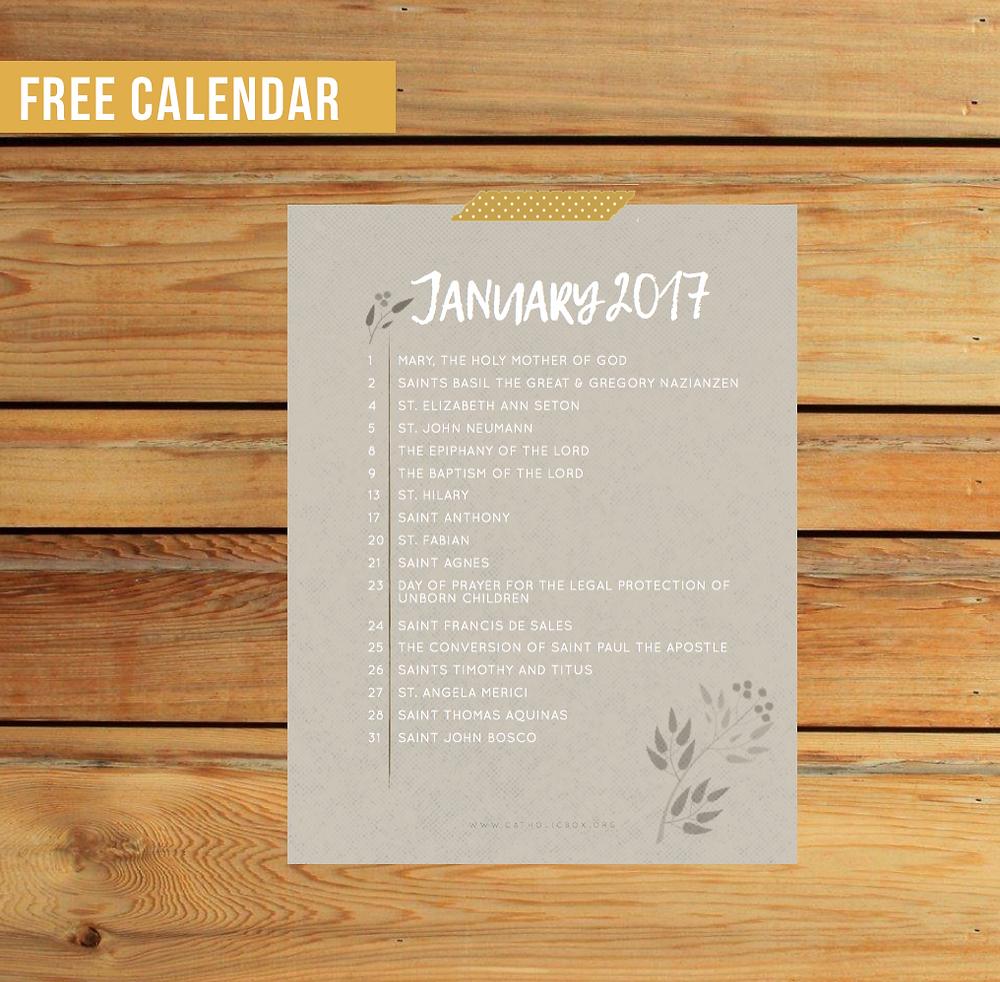 Free Calendar | Catholic Box