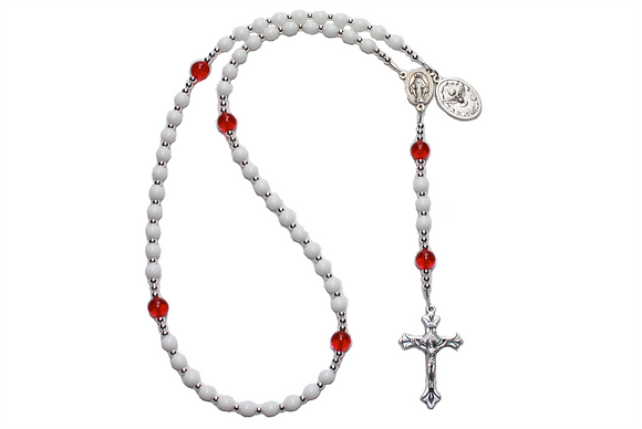 White Confirmation Rosary