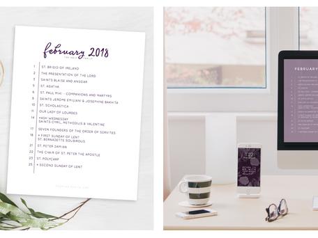Free Liturgical Calendars | February 2018