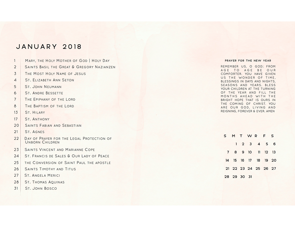 January 2018 Liturgical Calendar Desktop Background Frameable Faith