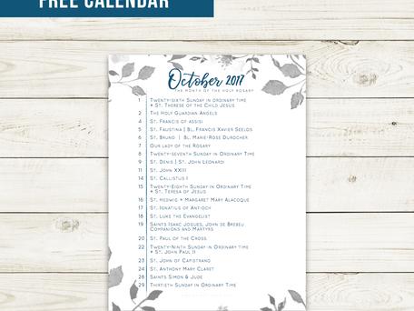 Free Liturgical Calendar   October 2017