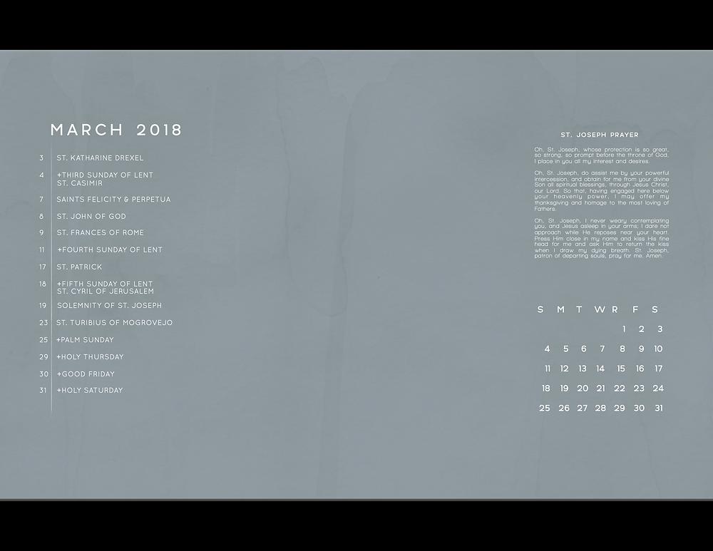 March 2018 Free Liturgical Calendar Desktop Background Frameable Faith