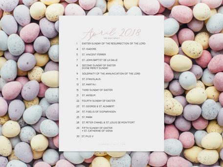 Free Liturgical Calendars | April 2018