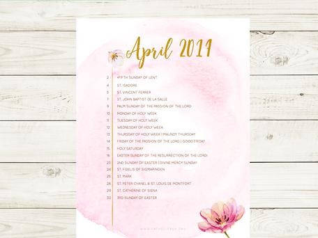 Free Liturgical Calendar   April 2017