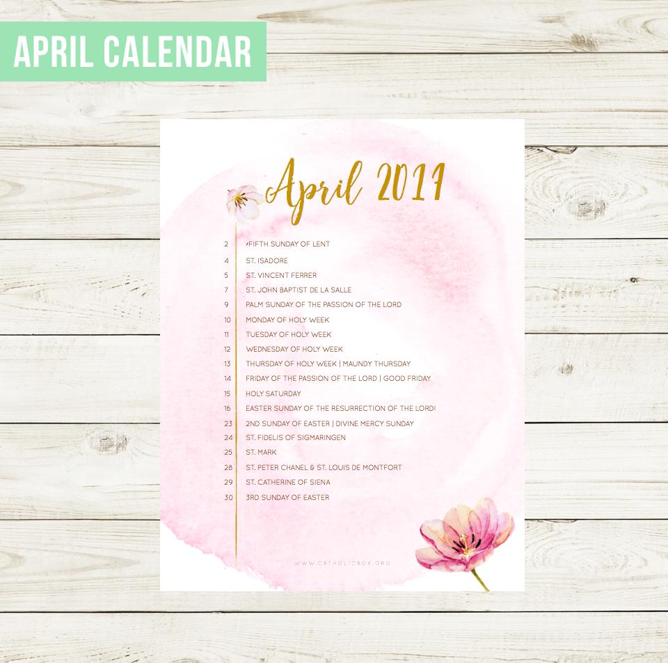 March Liturgical Calendar Catholic Box
