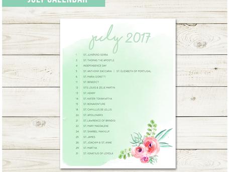 Free Liturgical Calendar   July 2017