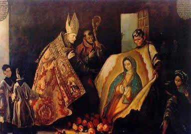 St. Juan Diego revealing the Image Our Lady of Guadalupe