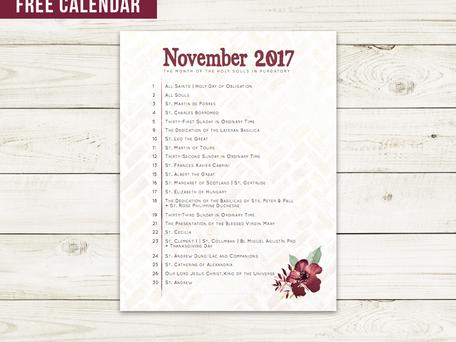 Free Liturgical Calendar   November 2017