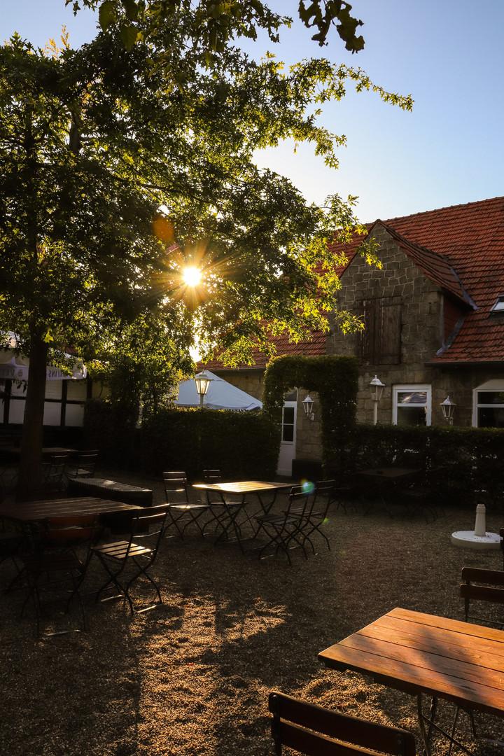 Das Hofcafé am Morgen