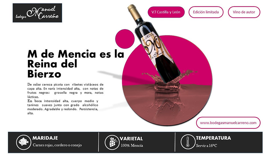 Bodegas Manuel Carreño | Vino Tinto | M de Mencia | El Bierzo