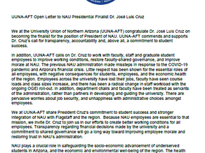 UUNA-AFT Open Letter to NAU President Cruz