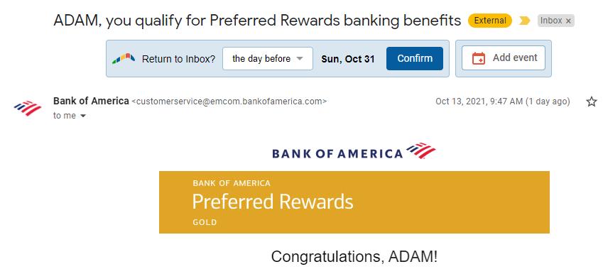 Entering Bank of America Preferred Rewards