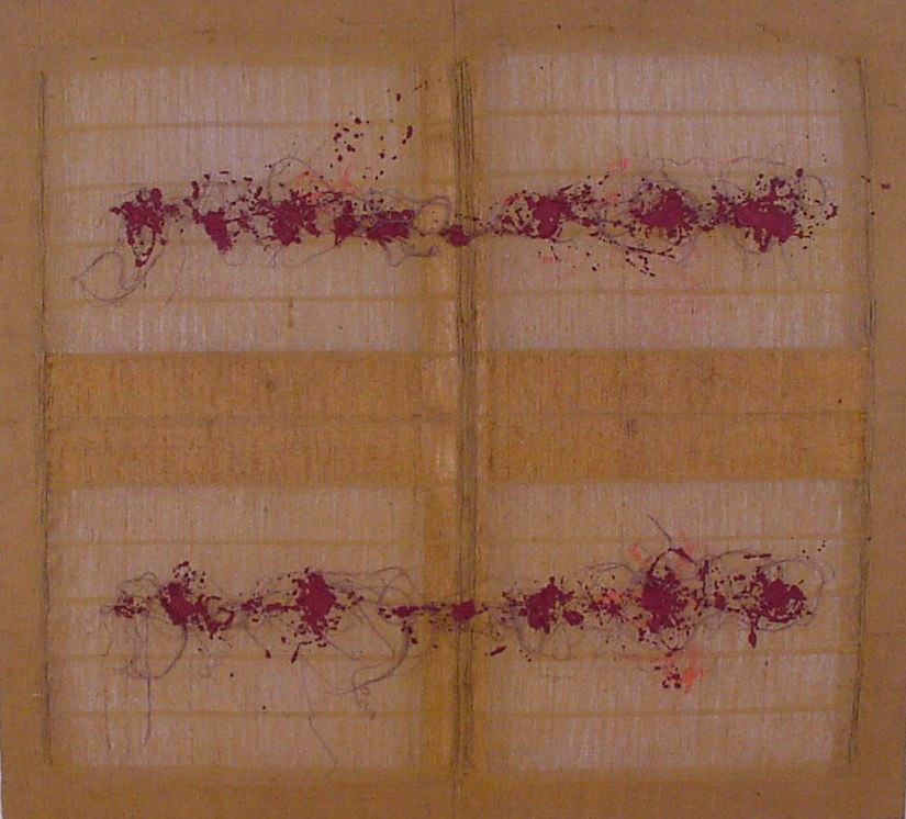 Salvatore Emblema, 1980, lapilli e terra colorata su tela di juta detessuta, cm 180x200