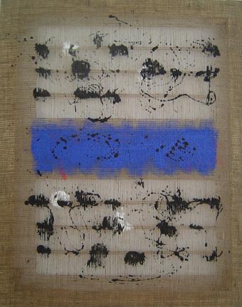 Salvatore Emblema terre colorate su tela di Juta cm 80x100 Rif 121