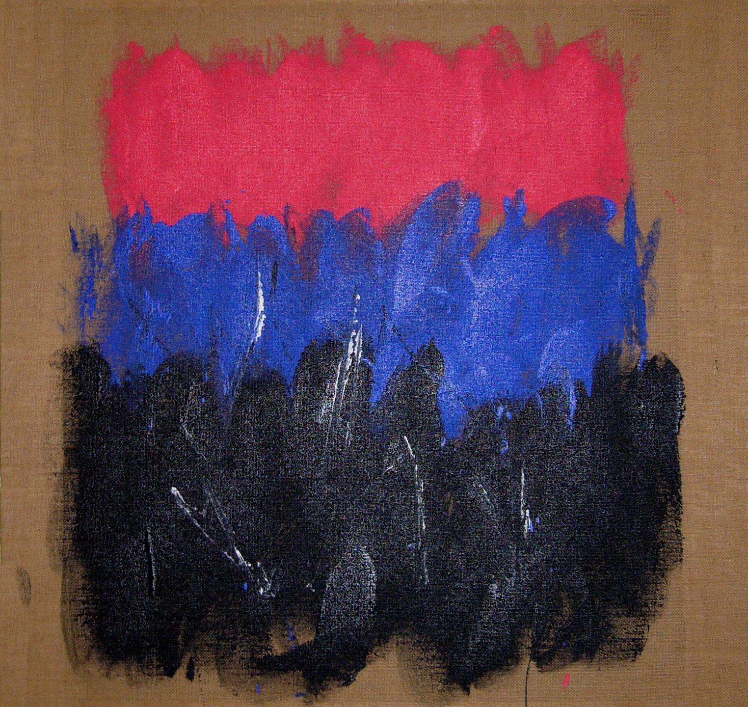 Salvatore Emblema terre colorate su tela di Juta cm 90x100 Rif R119