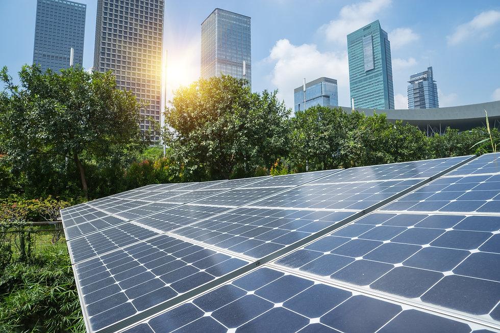 Solar Panels In The Park Of Modern City.