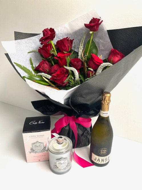 Bouquet,+ Large Candle + Jansz Sparkling Wine