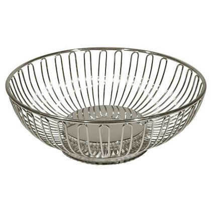 "Wired Chrome Oval Bread Basket 10"" X 6"""