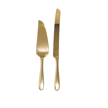 Gold Cake Knife and Server