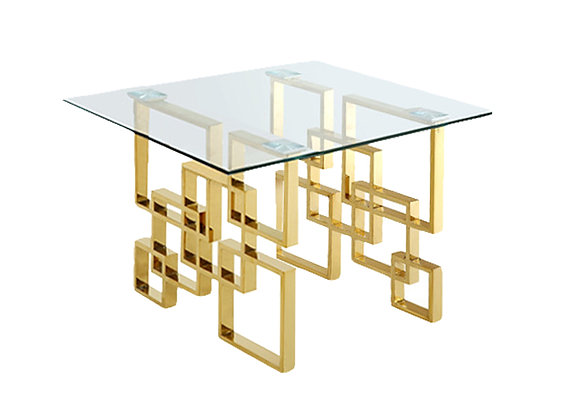 """48"""" Square Gold Glass Table"""