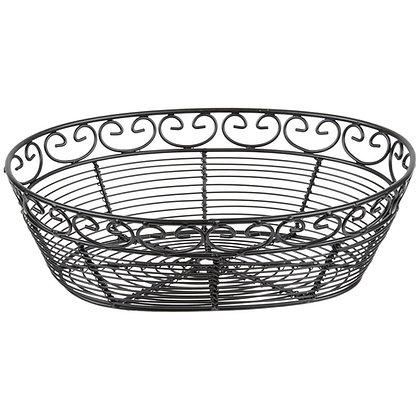 "Wired Black Oval Bread Basket 10"" X 6"""