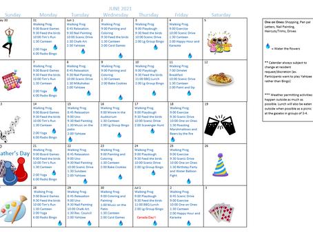 June 2021 Recreation Calendar - Harbourside Lodge