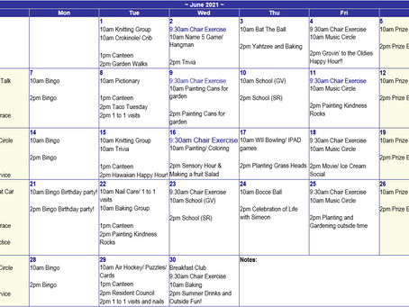 June 2021 Recreation Calendar - Mountain Lea Lodge