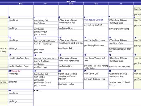 May 2021 Recreation Calendar - Mountain Lea Lodge