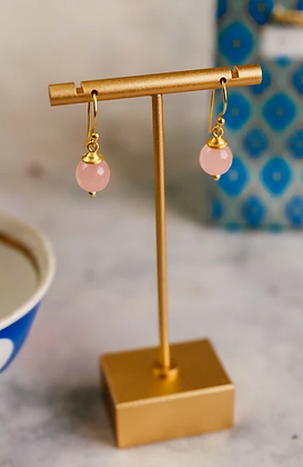 Simple Briolette Cut Rose Drop Earrings