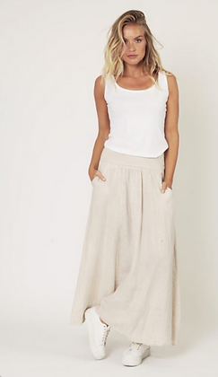 Maxi linen skirt with side pockets