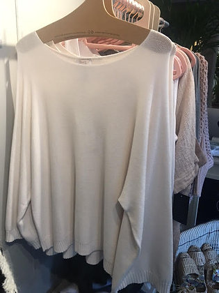 Soft viscose cream knit with bell sleeve