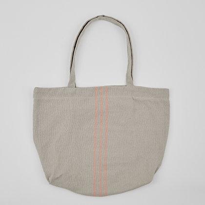 Weaver Green linen& coral beach bag