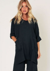Pure linen front pocket tunic top