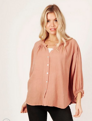 Textured peasant blouse soft pink