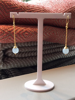 Chain Drop Aqua Chalcedony Earrings