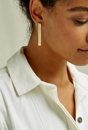 Long Bar Brass Earrings