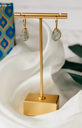 Raw Aqua Single Drop Earring