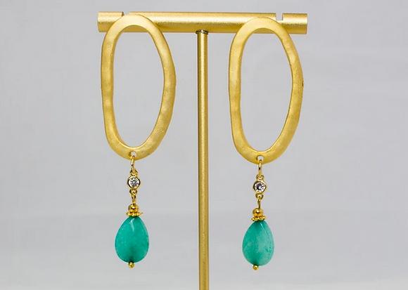 Oval Long Drop Turquoise Earring